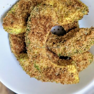 close up of air fried avocado fries done in air fryer.