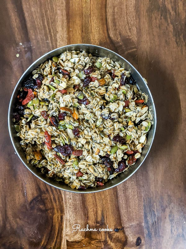 Granola after air frying in a round bowl