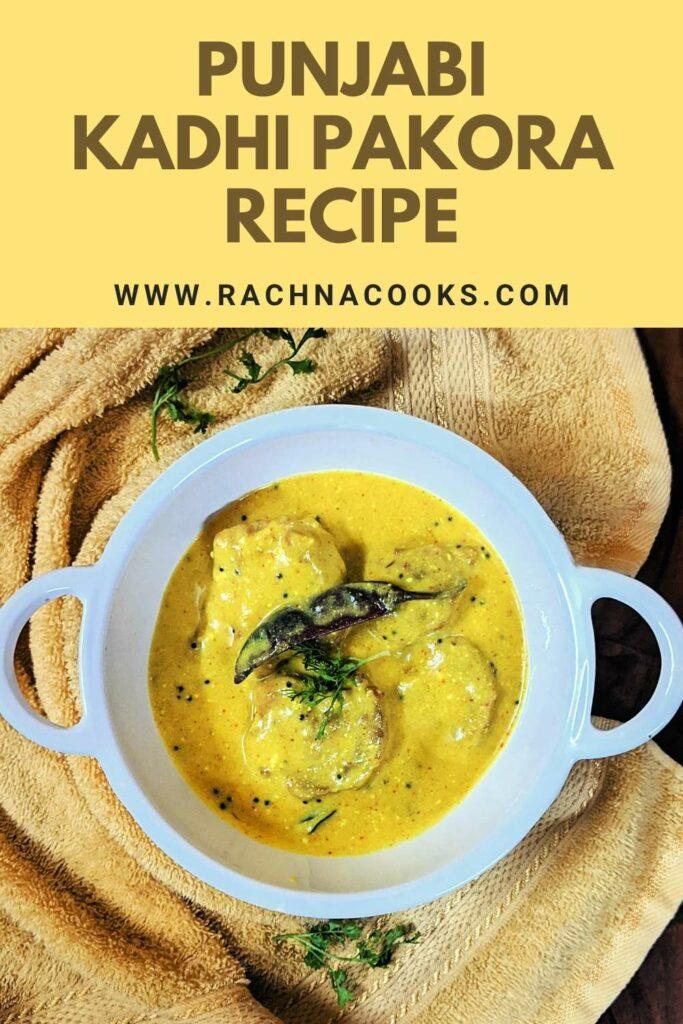 delicious kadhi pakoda in a white bowl against a yellow mat.