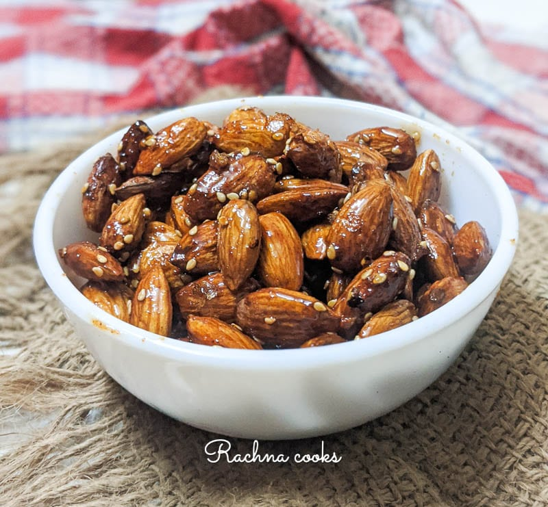 honey toasted almonds with sesame seeds