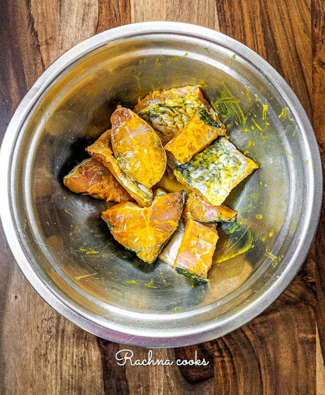 fish fillets marinated in turmeric and salt