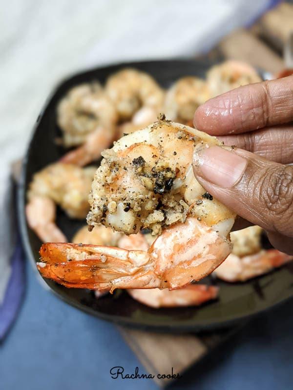 Lemon pepper garlic shrimp air fried