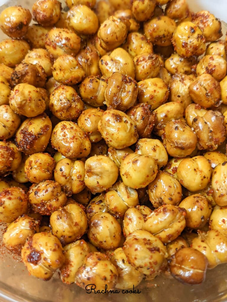 air fried chickpeas with a spicy coating
