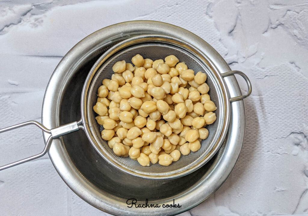 chickpeas drained in a sieve