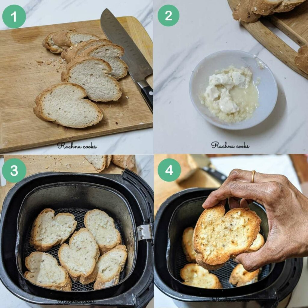 stepwise process shown to make garlic bread in air fryer