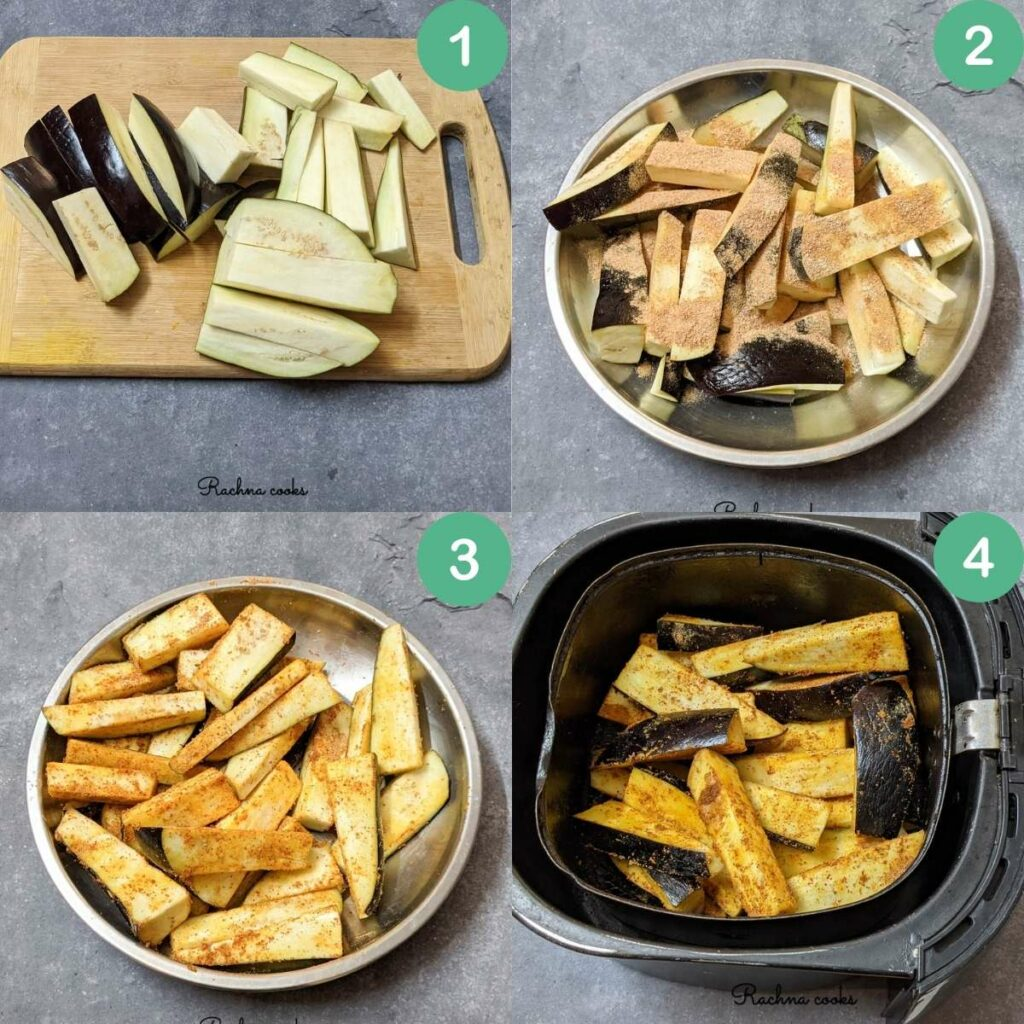 a collage showing the process of cutting the eggplant to putting them in air fryer