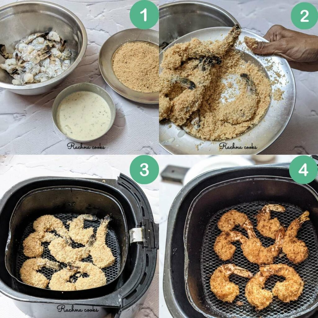 A collage of images showing the process for preparing air fryer shrimp tempura