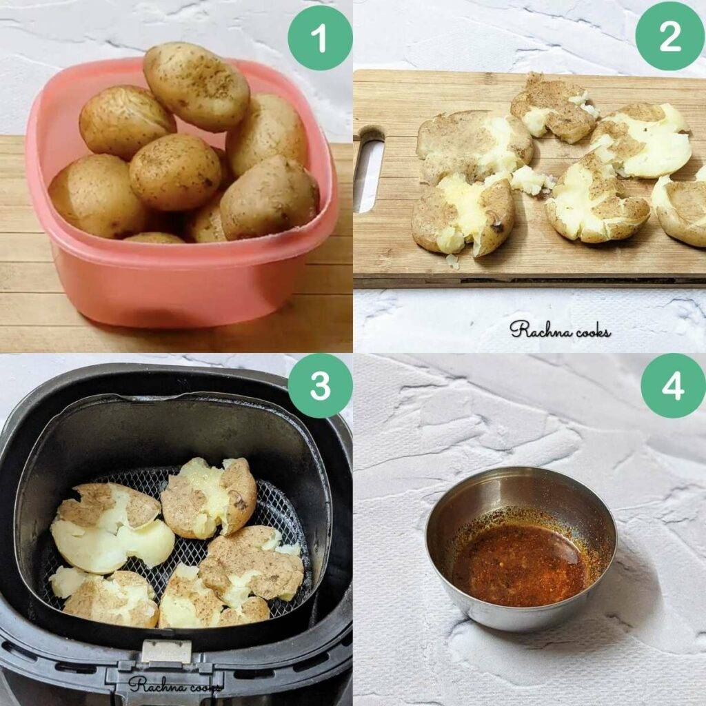 Process shots for making air fried smashed potatoes.