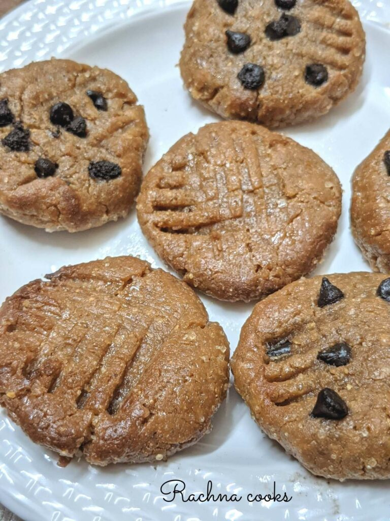 Closeup of peanut butter cookies with and without chocolate chips.