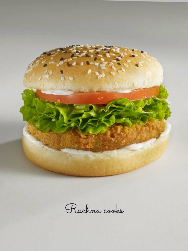 Chicken burger made with frozen chicken patty done in air fryer