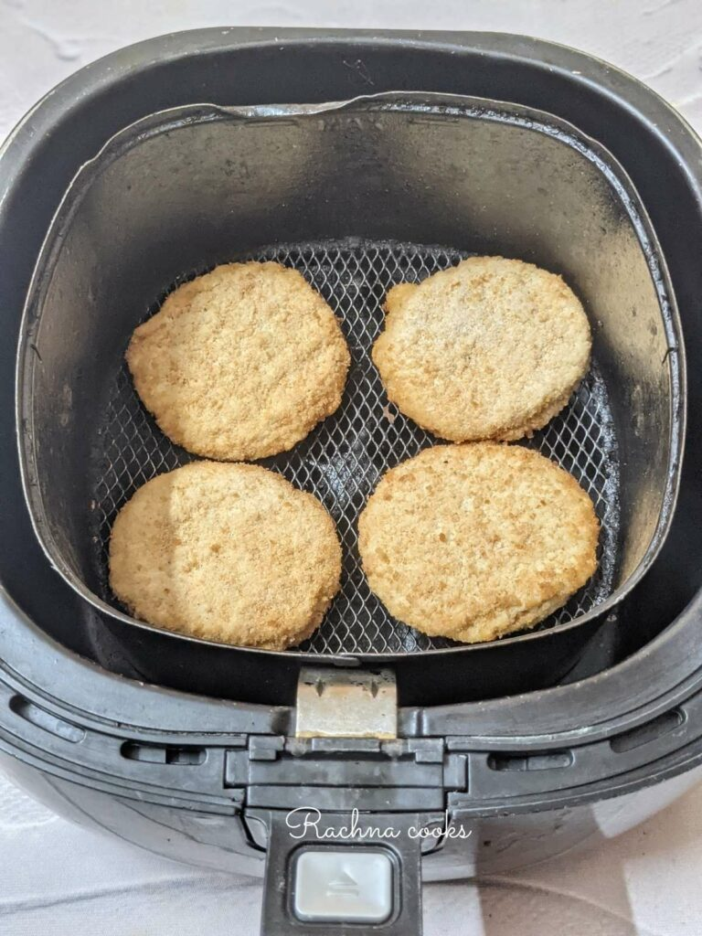 frozen chicken patties ready to be cooked in air fryer
