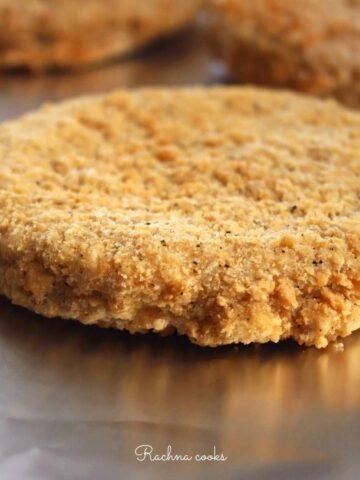Brown crispy chicken patties cooked from frozen in air fryer