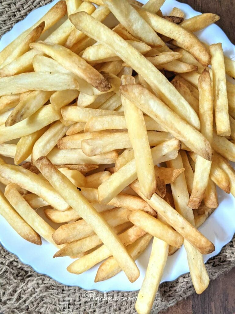 Close up of crispy french fries done in air fryer from frozen.
