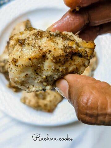 Close up of lemon pepper chicken air fried
