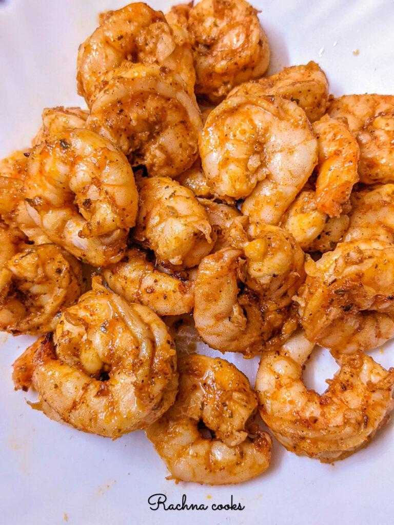 Delightful spicy Cajun shrimp done in air fryer