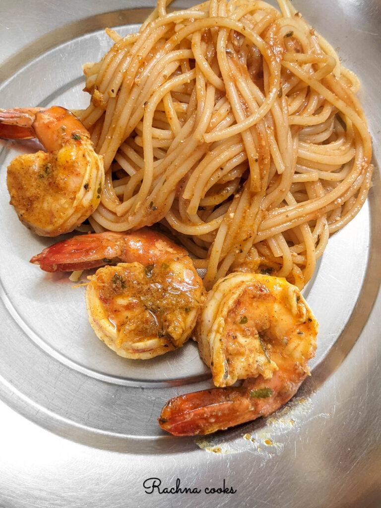 Tandoori prawns paired with pasta
