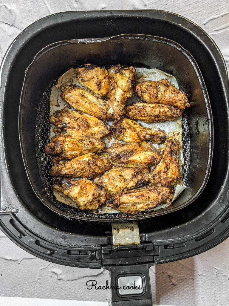 Delicious chicken wings after air frying ready to eat.