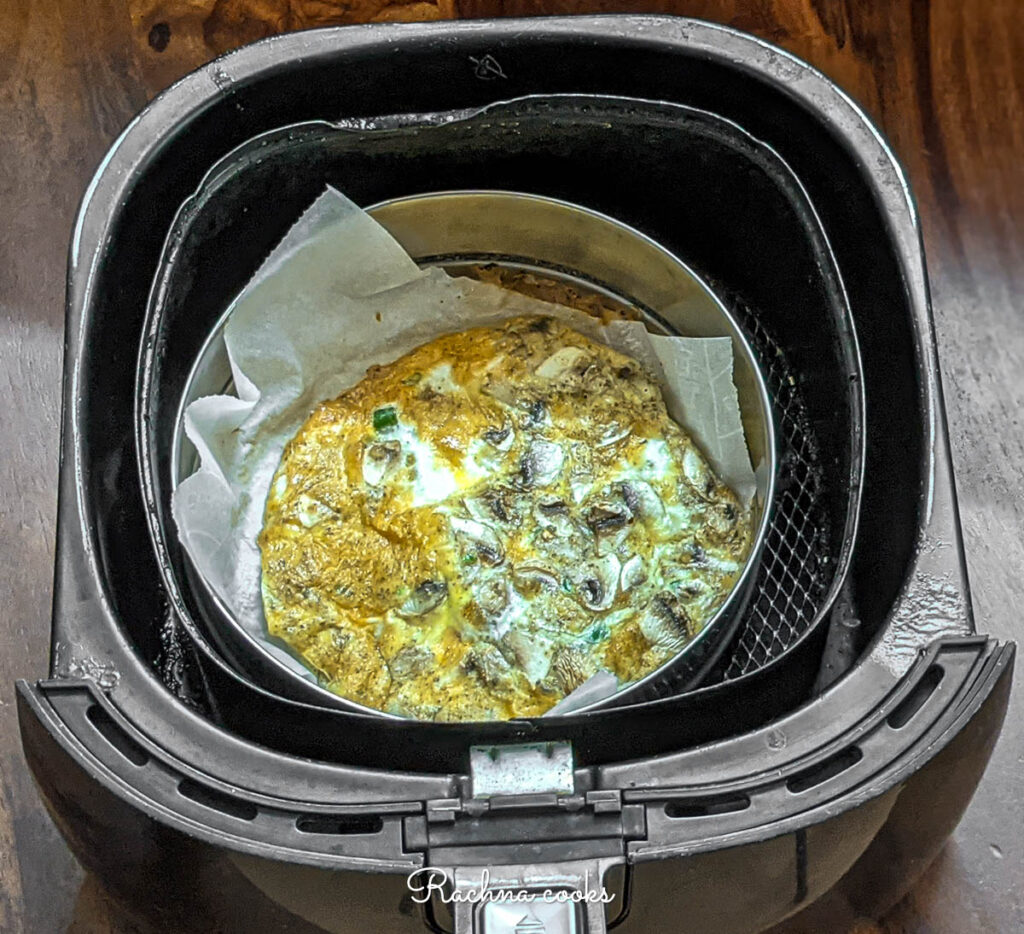 Cooked omelet in air fryer