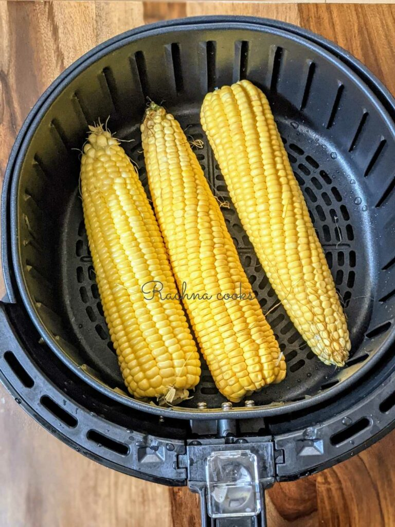 3 corn on the cob in air fryer basket