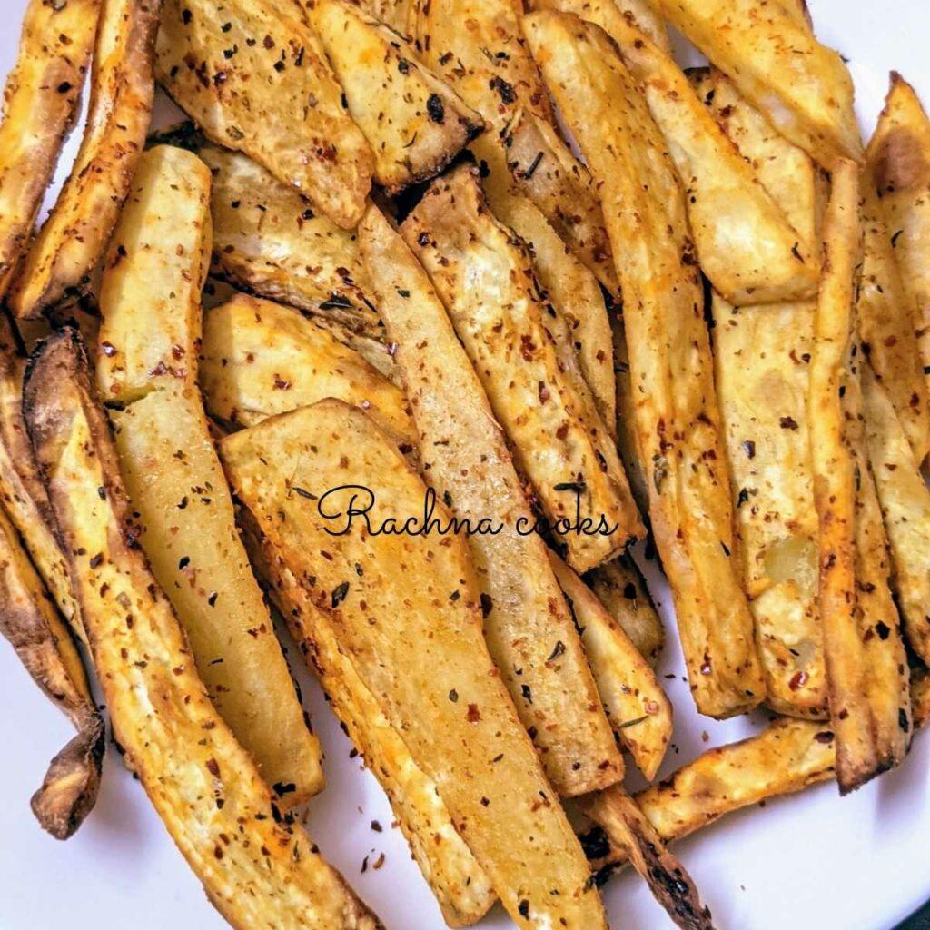 Close up of crunchy sweet potato fries
