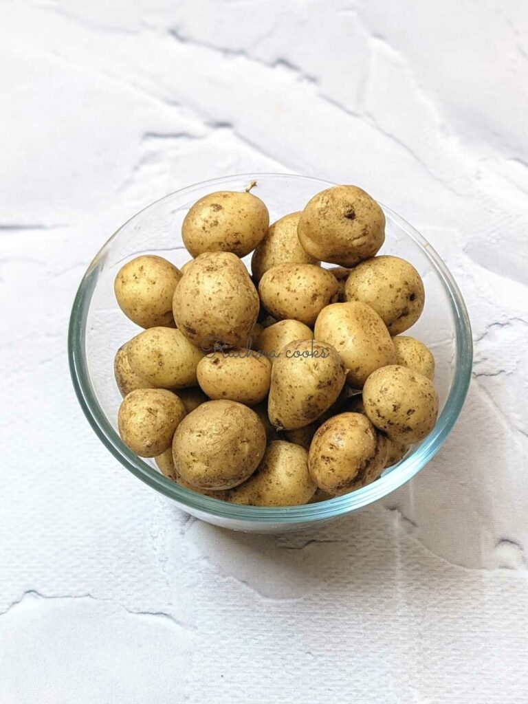 baby potatoes in a glass bowl